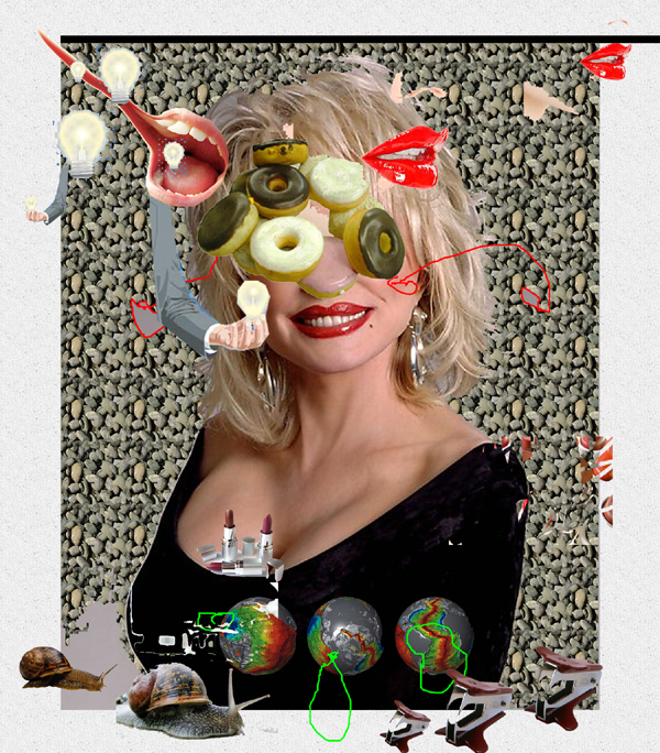 Digital collage o Dolly Parton with donut eys