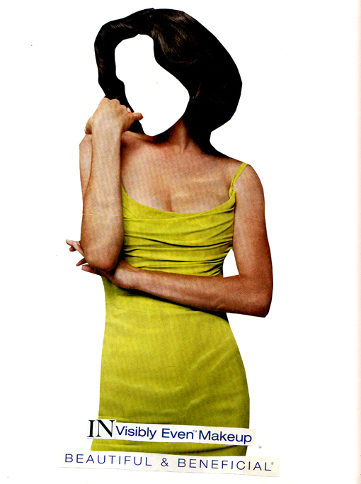Collage of woman with no face