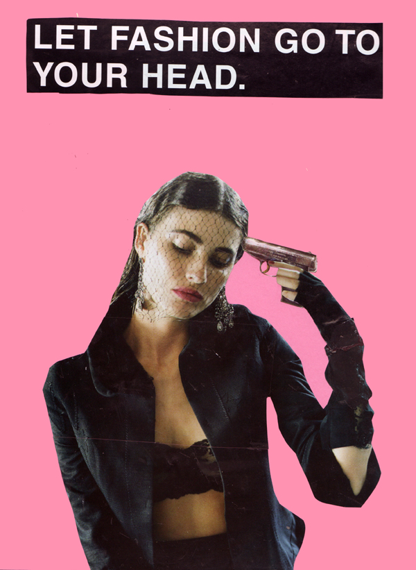 Collage of woman with gun to her head