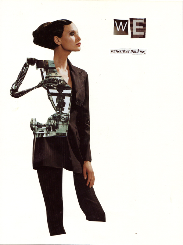 Collage of woman with robot arm