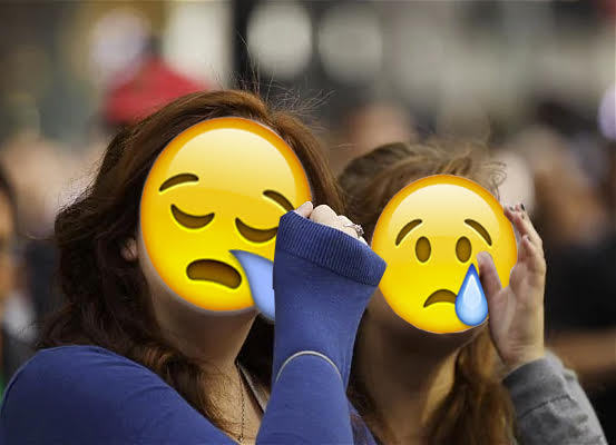 Collage of real people crying with emoji sad faces collaged over their real faces