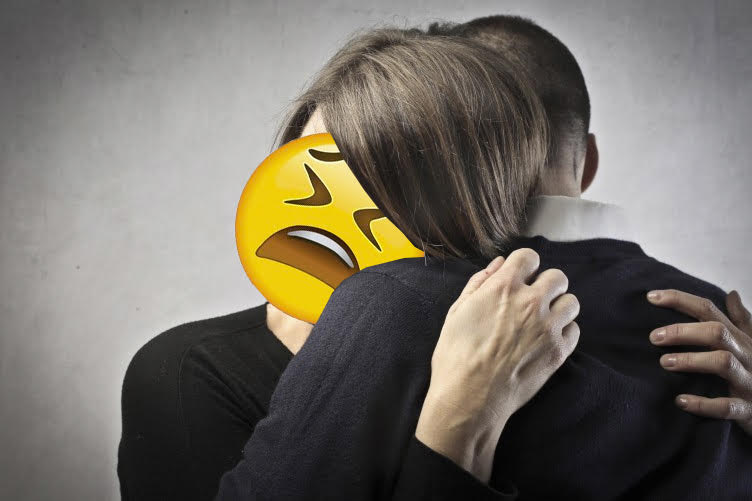 Woman distraught with Emoji distraught icon over her face