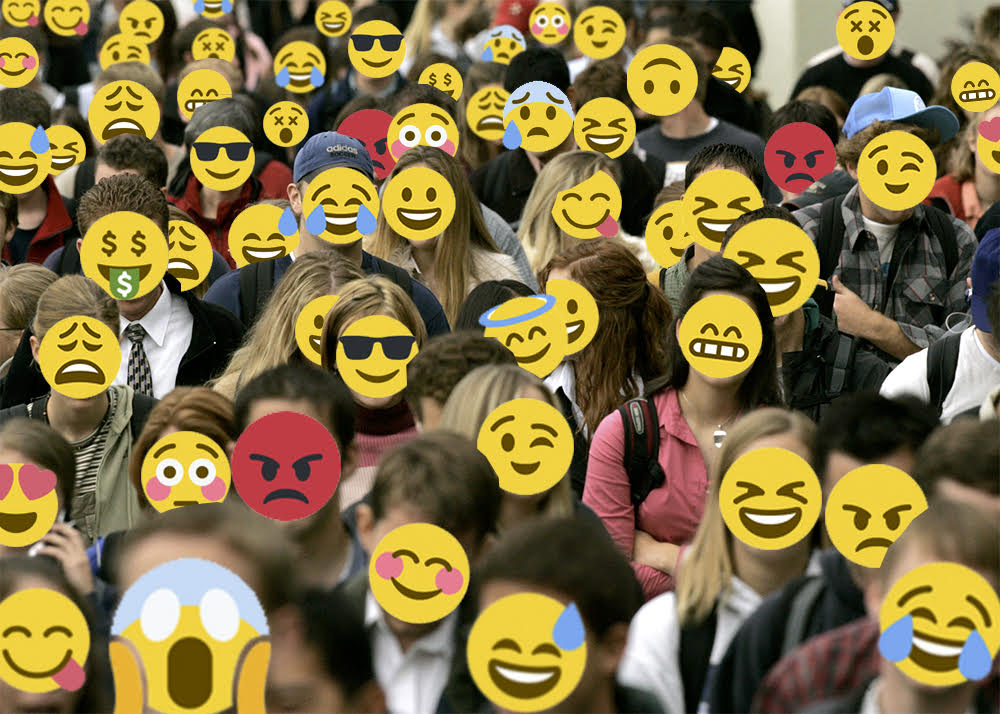 Collage of a crowd of real people all with different emoji expressions