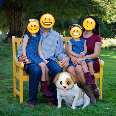 family with emoji faces