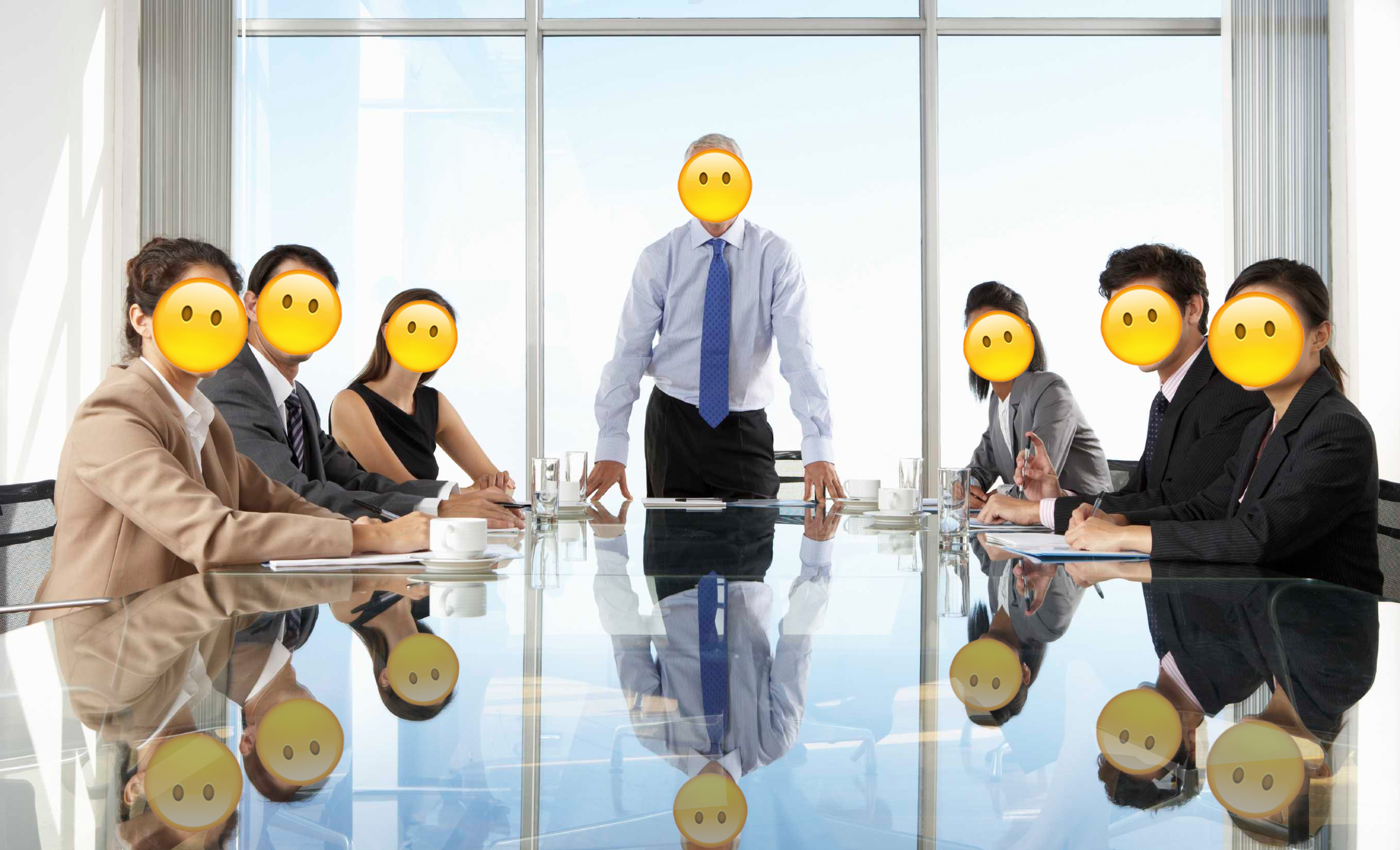 A meeting of executives with no expression emoji faces