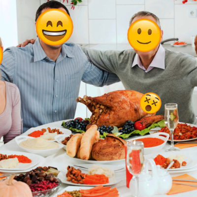 Family sitting down to a Thanksgiving dinner. Their faces have been replaces by emojis